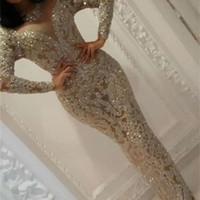 Yousef Aljasmi Prom Dresses Jewel Neck Long Sleeve Beading Mermaid Evening Gowns Floor Length Dubai Luxury Party Runway Dress Plu