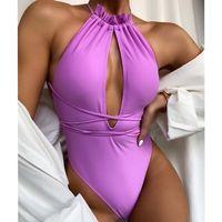 Women's Swimwear 2021 Sexy One Piece Swimsuit Push Up Women Halter Monokini Cross Bandage Bodysuit Bathing Suit Swim Wear 1223
