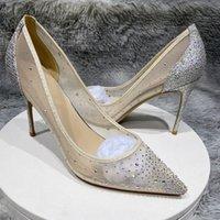 Strass Silvestones Femmes Chaussure Gauze Poiny Toe High Heel Mariage Partie de mariée Bridemées Bridemées Chaussures Été Sexy Stiletto Pompes Sandales