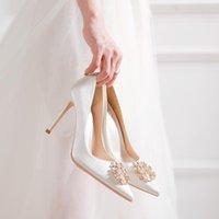 Dress Shoes Spring Rhinestone Pointy Shallow Mouth White Stiletto Silk Bridal Wedding Banquet All-match Women's