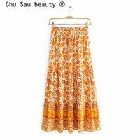 Chu Sau Beauty Fashion Boho Floral Prince Longues Jupes Femmes Vacances Chic Taille Élastique Lâche Jupes lâches Femme Summer Beach Wear 210508