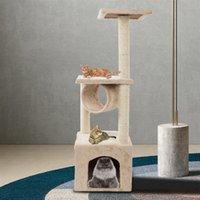 "Waco Cat Tree Furniture Condo Tower Play House, Sisal Rope Scratchers Posts Perches Klättra Hus Hängmatta, Small Kitty Activity Center, 36 ""Beige"