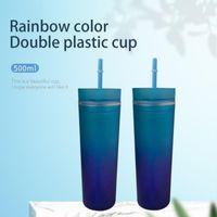 Tassen 2021 Gradient Rainbow Water Cup Gerade Körper Skinny Plastic Tumbler Doppelwand Sippy mit Strohhalm