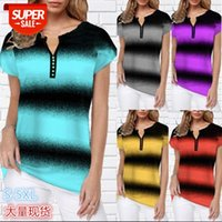 [in stock]spring and summer European American plus size women's fashion V-neck stripe printed short-sleeved T-shirt #2G2m