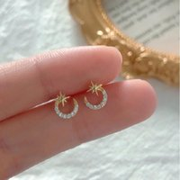 Stud S925 Silver Needle Star Moon Earrings Super Exquisite Temperament Fashion Student Micro Inlaid Zircon Shiny Earring