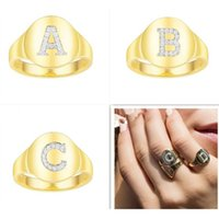 initial capital letter ring Personalized A-Z gold Letter Rings Custom Alphabet Ring 925 sterling silver monaco jewelry