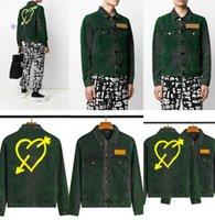 مصمم جان جاكيتات معطف MA1 الرجال النخيل الأخضر الشتاء طويل الأكمام القلب سترة رجل السلم الهيب هوب الدنيم كاوبوي عارضة معاطف نمط أبلى