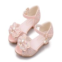 Kids Sandals Princess High Heels Bowknot Glitter Leather Fas...