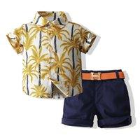 Toddler Kids Baby Boy Gentleman Clothes Summer Short Sleeve Button Floral Printed Shirt Tops Shorts Pants Outfit Children Set