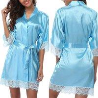 Vestido de seda damas ropa de dormir de encaje para mujer Robe Middle Sleence Bathrobe sexy lencería noche vestido de noche