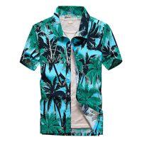 Strandoverhemden Mannen Zomervakantie Camisas Para Hombre Coconut Tree Gedrukt Korte Mouw Button Down Hawaiian Shirts voor M-5XL