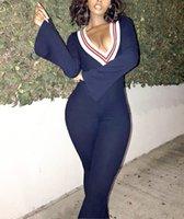 Женский комбинезон Йога одежда повседневная мода партия военно-морской воротник боди V-образным вырезом сексуальная с длинным рукавом спортивная одежда весенняя плотная труба