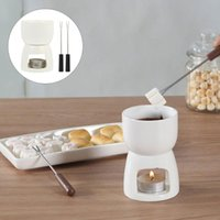Set Keramik Fondue Käse Schmelzt Pot Schokoladenherd Küche Gadget Gabeln