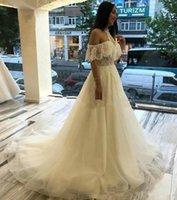 Halter A Line Lace Wedding Dresses with Appliques Off the Shoulder Short Sleeves Court Train Bridal Gowns Vestidos De Novia