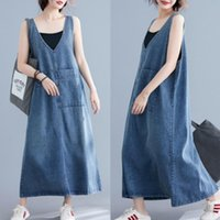 Denim Dress Women Plus Size Vintage Sleeveless Casual Jeans Dresses Summer Clothes V Neck Loose Big Pockets Female Maxi Vestidos