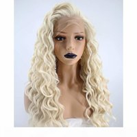 Kinky Kıvırcık Platin Sarışın Dantel Ön Peruk Sentetik Saç Uzun Spiral Bukleler Doğal Saç Çizgisi Sentetik Lacefront Peruk Beyaz Kadınlar için