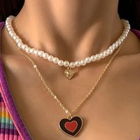 Pendant Necklaces Vintage Double Layer Pearl Heart-shaped Dripping Oil Choker Necklace For Women Imitation Elegant Wedding Jewelry