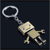 Keychains 패션 Aessories 드롭 배달 2021 남자 아이들이 Aessorory 귀여운 합금 로봇 키 체인 크리 에이 티브 보석 키 링 자동차 열쇠 고리 키즈 아이