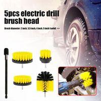 Car Sponge 5pcs set Electric Drill Brush Attachment Kit For Bathroom Bathtub Shower Tile Porcelain Yellow Tyre Cleaning Tools