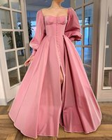 Vintage Prom Dress for Women, Strapless Long Puff Sleeve Button Down A-Line Formal Evening Gowns