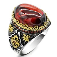 Cluster Rings Style Turkish 925 Sterling Silver Men's Red Zircon Ring, Vintage Design, With CZ Punk Rock Male Ring T