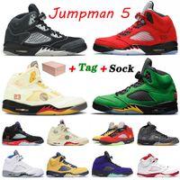 Raging Bull 2021 Jumpman 5 5 S Erkekler Antrasit Basketbol Ayakkabıları Retro Yangın Kırmızı SE Oregon Alternatif Grapenens Bel Erkek Eğitmenler Spor Sneakers Boyutu 40-47