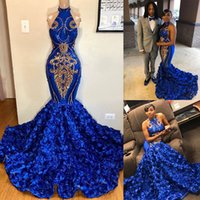 African Royal Blue Mermaid Prom Dresses With Gold Appliques Sexy Halter 3D Rose Flower Evening Gowns Formal Cocktail Dress