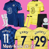 22 22 CFC 축구 유니폼 Havertz Ziyech Werner 첼시 축구 셔츠 Chilwell Silva Abraham Mount Pulisic Camiseta Fútbol 2021 2022 Kante Maillot de Foot