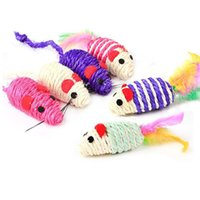 Mice Cat Cute Fun Sisal Mouse Cat Toys Chew Interactive Toys Pet Rope Mouse Playing Kitten Teaser Toys