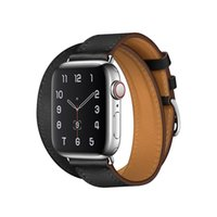Lüks Deri Bant Apple Watch Serisi için 5 4 3 2 1 38mm 40mm 42mm 44mm Çift Döngü Hakiki Deri Bilezik Kayışı Watchband