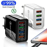 USB Charger Quick Charge 4 Port USB Charger QC 3.0 Travel Wall Chargers Fast for iphone12 Huawei Xiaomi Huawei Tablet Wall Adapt