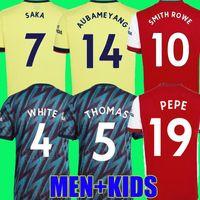 Smith rowe ben white arsen futebol jerseys gunners 21 22 sambi pepe saka thomas willian nicolas tierney tavares 2021 2022 camisa de futebol homens + kit kits longo arsenal tops