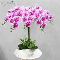 Decorative Flowers & Wreaths 95 Cm 9 Heads Artificial Flower Real Touch Latex Butterfly Orchid Decor Office Home Christmas Wedding PU Floral