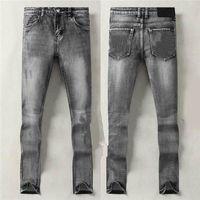 2021SS Yaz Sonbahar Erkek Kot Gri Popüler Ünlü Ince Bacak Jean S Marka Erkekler Yıkanmış Tasarım Rahat Slim Hafif Streç Düz Sıska Pantolon W29-W38