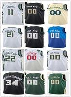 Mens Womens Youth Giannis 34 Antetokounmpo Brook 11 Lopez Khris 22 Middleton Jrue 21 праздник на заказ баскетбол майки черный белый зеленый Blu
