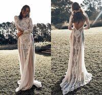 2021 Vintage Lace Boho Beach Vestidos de Noiva de Manga Longa Applique Backless Country Estilo Boêmio vestido de noiva vestidos de noiva hippie cigano vestido