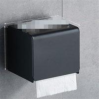 Caja de papel de papel negro Tenedor de rollo de papel de baño Montado en la pared Titular de papel higiénico Rack Accesorios de baño Titular de tejido Caja 376 R2