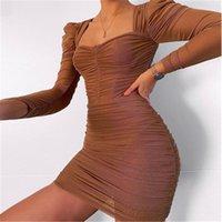Femmes mailles double enveloppe de coffre mode tendance tendance à manches longues sexy jupes de jupes de concepteur femme printemps nouveau décontracté à la taille haute taille robe