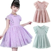 Girl's Dresses Kids Girl Ball Gown Dress White Toddler Summer Lace 6 7 8 Year Princess Birthday Party Children Clothing