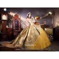 Gold Lusso Embrodiery Appliques Quinceanera Abiti Sweetheart Neck 2 in 1 Ruffles rimovibile Gonna Sweet 16 Compleanno Party Pageant Abiti