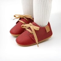 First Walkers Infant Girls Wine Red Retro Shoes Born Simplicity Solid Color Rubber Sole Non-slip Flat Slippers Baby Lace Up Moccasins