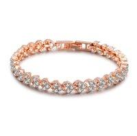 Fashion Women Link Chain Bracelet with Shining Cubic Zirconia Stones CZ Clover Desigin Wristband For Ladies Imitation Diamonds Bangle Girlfriend