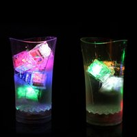 LED Ice Cubes Fast Party Flash Slow Flashes 7 Color Auto Changing Crystal Cube For Valentine's Day Wedding 12pcs box