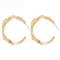 Simple Personality Gold Geometric Hoop Earrings For Women Statement Alloy Round Earring Fashion Pendientes Charm