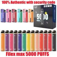 100 % 정통 담배 충전식 일회용 Vape 장치 950mAh 배터리 보안 코드 vapes 펜으로 12ml 가격 5000 퍼프 고용량 Filex Max