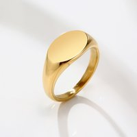 Customize Signet Stamp Ring for Women 9mm Initial Gold Color Solid Stainless Steel Stackable Rings Minimalist Girl Jewelry Gift