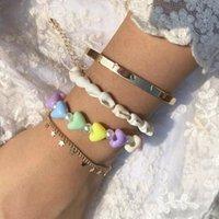 Link, chaîne 4pcs / Set Bohemia Géométrique Coeur Coeur Imitation Perles Perles Bracelet Perles Pour Femmes Fashion Beach Bijoux Naturel Shell Naturel
