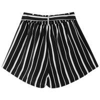 Kenancy WomenTie Belt Striped Shorts Elastic Waist Wide Leg Bowknot Shorts Summer Female Fashion Shorts Arrival