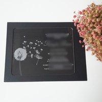 Grußkarten 100 STÜCKE pro Los Löwenzahn 5 * 7 Zoll Rechteck Form Lasergravierte Buchstaben Klar Acryl Hochzeitseinladungskarte