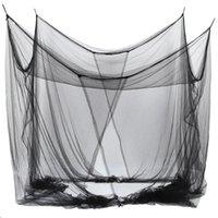 Mosquito net 4-corner letto da letto a baldacchino per queen / king dimensionato 190 * 210 * 240 cm (nero)